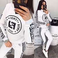 FENDI New Women Casual Long Sleeve Top Pants Two-Piece White