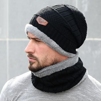 11476219b2a Men Beanie Knit Hat Winter Cap For Men Women Knitted Hat Scarf Set Fashion Thicken  Warm