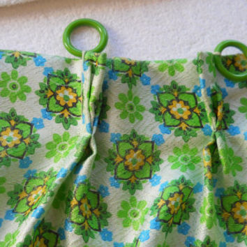 Lime Green Curtain 60s Curtains Bedroom Curtains Short Curtain Floral Curtain Panel Pleated Curtains Floral Curtain Panel Window Treatment