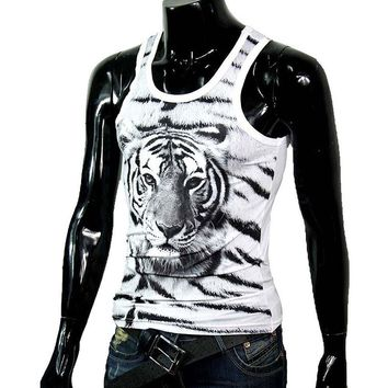 Tigers Print Slim Fit Cotton Undershirt
