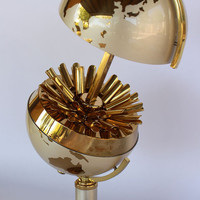 1950's Pop Up World Globe Brass Cigarette Dispenser / Holder