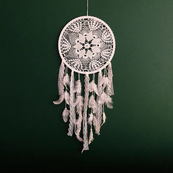 Large Dream Catcher for Wedding or Nursery Decor, Bohemian Decor, White Dream Catcher, White Dreamcatcher, Bedroom Decor, Crochet Dreamcatch