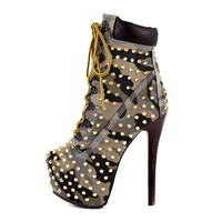 Women's Army Camo Rivet Studded Platform Lace Up High Heel Work Ankle Boots