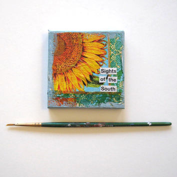 Sunflower Magnet, Miniature Mixed Media Painting, Mini Canvas, Original Miniature painting, Home Decor, Best Friend gift