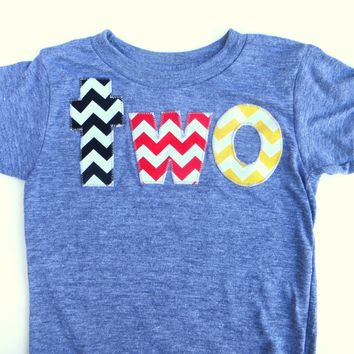 two for 2nd Birthday Chevron Number for any Birthday -  Pick a chevron color Birthday Shirt- black, red, yellow mouse theme Mickey