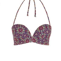 Multicoloured Tile Print Extreme Push Up Bikini Top