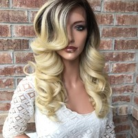 "Alanna Ombré Human Hair Blend Multi Parting Lace Front Wig 20"" 41711"