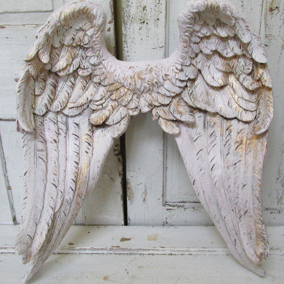 Angel wings wall decor white pink tinted from for Angel wall decoration
