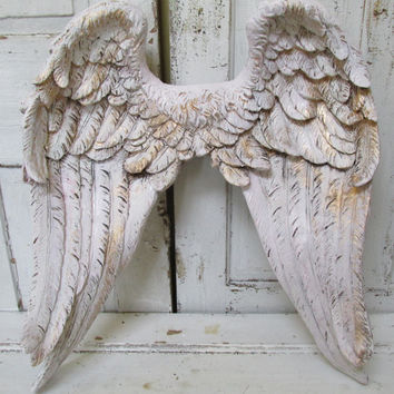 Angel wings wall decor white pink tinted distressed gold accented Shabby cottage chic large home decoration anita spero