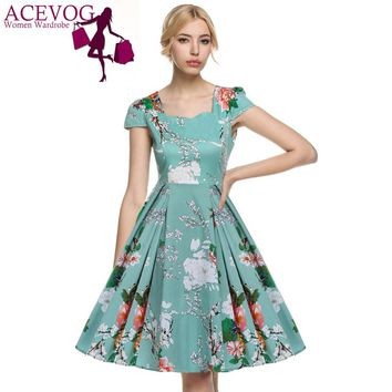 ACEVOG 2017 Vestidos 1950's Vintage Style Women Elegant Cap Sleeve Floral Spring Garden Party Picnic Cocktail Swing Tea Dress