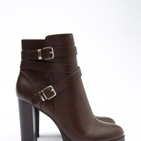 Strappy Faux Leather Booties | Forever 21 - 2000179368