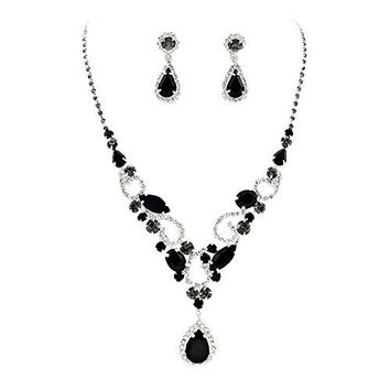 Lovely Black Teardrop Statement Rhinestone Necklace Set Bridal Bridesmaid Prom SilverTone