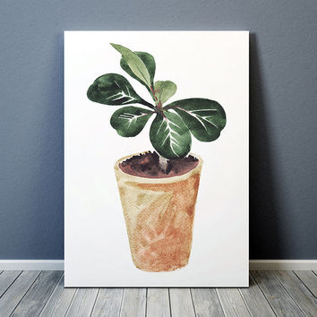 Watercolor print Potted plant art Flower poster Botanical print ACW655