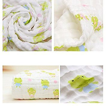 Lucear Muslin Baby Bath Towels Lovely Print Also Warm for Blanket (Green)