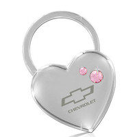 Chevrolet Heart Shape Keychain 2 Pink Crystals Key Chain