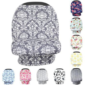Infant Baby Car Seat Cover Milk Fiber Nursing Cover Canopy Stripe Feather Baby Canopy Shopping Cart Cover Stroller Accessories