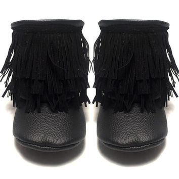 Black fringe boots with soft or rubber sole