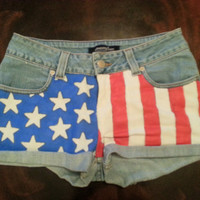 Fourth of July High Waisted Denim Shorts