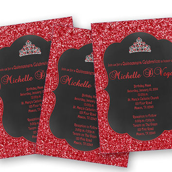 Princess Glitter Red Sweet 16 Invitation - Sweet 15 Invitations - Teen Girl Birthday Invite - Chalk and Red Glitter Tiara Invites - Bling