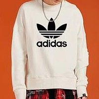 ADIDAS classic chest large logo printed men's round neck sports sweater white