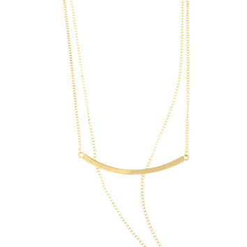 Goldtone Triple Layer Choker, Bar, Iced Out Moon Chain Necklace