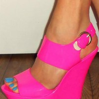 Fluoro Patent High Heeled Sandal Wedge , Available in Pink & from RMW