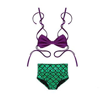 Mermaid Design Girl Swimsuit Two-piece Set