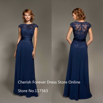 Cap Sleeve Chiffon Bridesmaid Dresses Long Navy Blue Brides Maid Dress Buttons Back See Through