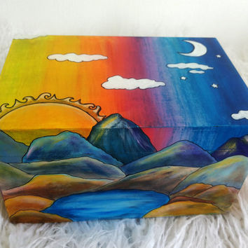 Wood Box Hand Painted Jewelry box Gift Box Mountaing Sun Moon Colored Makeup Storage Keepsake Box Organizer Art OOAK Multicolor Unique Gift