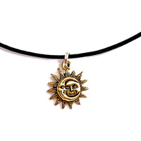 Small Gold Sun/Moon Customizable Necklace