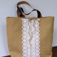 Handmade jute tote elegant bag decorated with cotton lace, unique, chic,light, collectible, city bag, stylish
