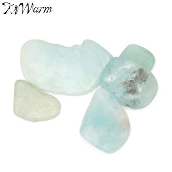 KiWarm 5g Aquamarine Crystal Stone Tumbled Crystal Gemstone for Terrarium Fish Tank Plant Potting Glass Container Home Decor
