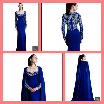 2015 new arrival chiffon prom dress mermaid beading with long sleeve and cape floor length royal blue prom gowns