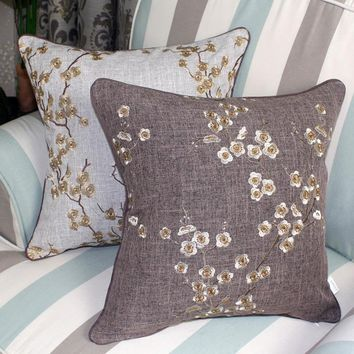 Garden cotton linen Chinese embroidery seat cover pillow cases for decoration