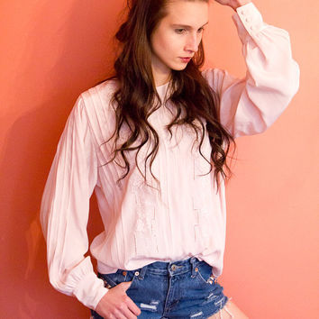 Edwardian Style 70's Blouse in Pink