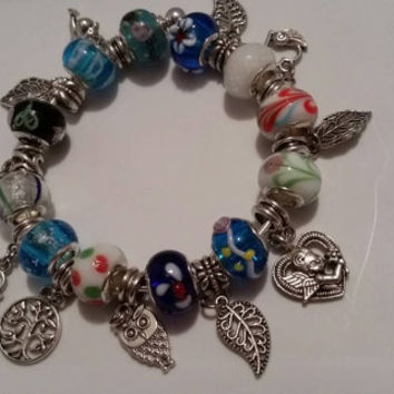 Eclectic Euro European Beads and Silver Filled Charms Bracelet Birthday Present Gift Graduation Anniversary