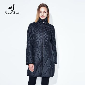 SnowClassic spring jacket women parka thin lantern sleeve quilted long solid jacket outerwear women parkas slim warm new arrival