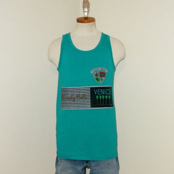 Vintage 80s BEVERLY HILLS Venice Beach GRAPHIC Rodeo Drive Surf Money Men Women Small Cotton Tank Top