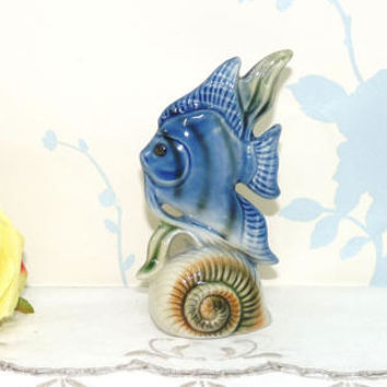 Angel Fish and Shell Ceramic Figure, China Fish Ornament, Figurine, Kitsch, Collectable, Ornament, niknak, hand painted, housewares