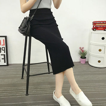 2016 Autumn Winter Fashion Package Hip Skirt 40-65KG Available Casual Long Skirt Women High Elastic Knitted Cotton Maxi Skirt