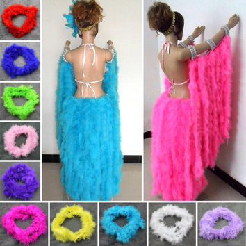 2016 New Various Colours 2Meters Marabou Feather Boa For Fancy Dress Party Burlesque Boas DIY Cosplay Y1S1