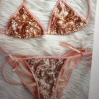 Pink system with sexy sequins bikini swimwear