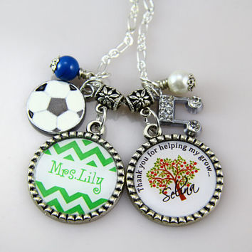 Teachers Necklace,Green Chevron, Apple Tree Necklace-Soccer Teachers Necklace,Christmas Gifts, Spring Necklace