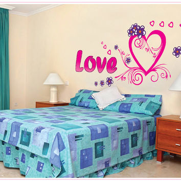 The new LOVE LOVE sitting room bedroom home decoration wall removable wall stickers SM6