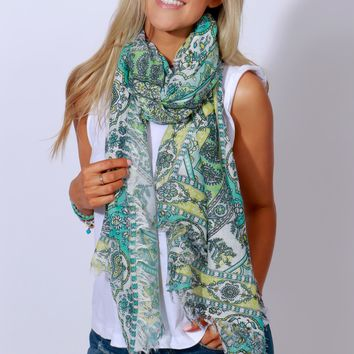 Sea Floor Garden Print Scarf Green