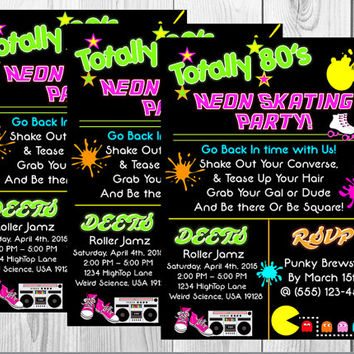 Neon 80s Birthday Invitation