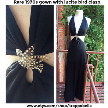 SALE - Lucite Bird Gown - halter dress - 1970s maxi dress - rare vintage - likely Halston - formal gown - disco gown - low back - black tie
