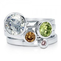 Multicolor Cubic Zirconia CZ 925 Sterling Silver Fashion 4 Pc Ring Set #r664
