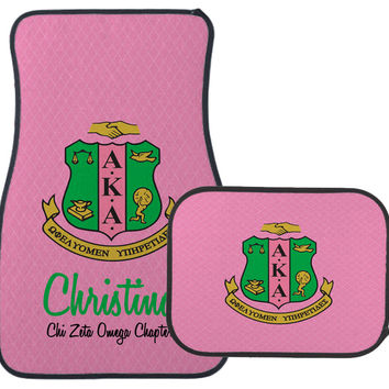 AKA Auto Mats - Alpha Kappa Alpha Sorority Car Mats - Pink or Black