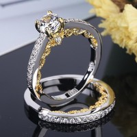 NEW Design Vintage Gold Color Luxury 2 Rounds Bijoux 925 Sterling Silver Wedding Ring Set Cubic Zirconia Jewelry For Women Men